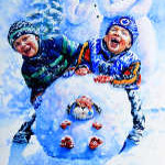 painting of children making snowman
