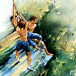 painting of boys jumping into lake