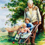 painting of grandfather pushing grandchildren in wheelbarrow