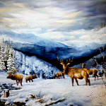 elk in Rockies painting