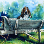 pet portrait painting of hound dog in wheelbarrow