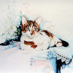 calico cat portrait painting