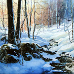 winter creek in woods scene